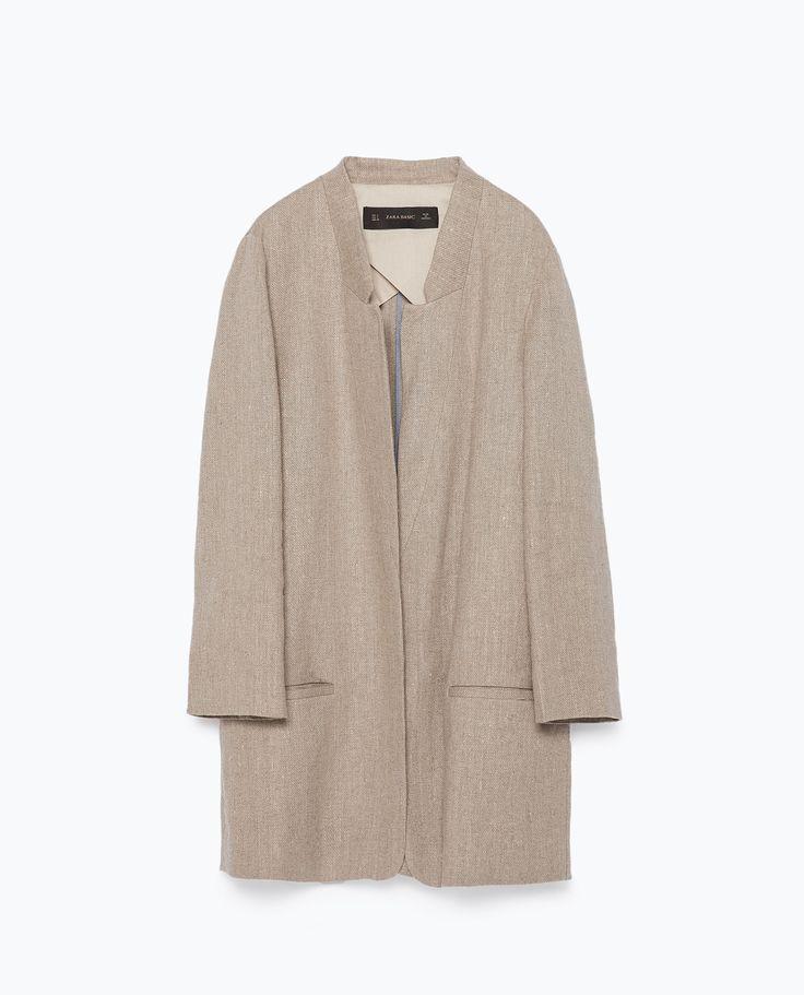 ZARA - WOMAN - ROUGH LINEN COAT   Things to wear summer   Pinterest