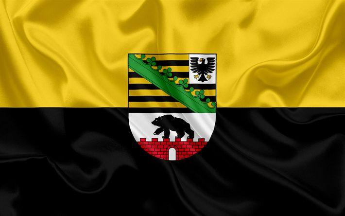 Descargar fondos de pantalla Bandera de Sajonia Anhalt, Tierra de Alemania, las banderas de Tierras germanas, Sajonia Anhalt, los Estados de Alemania, bandera de seda, República Federal de Alemania