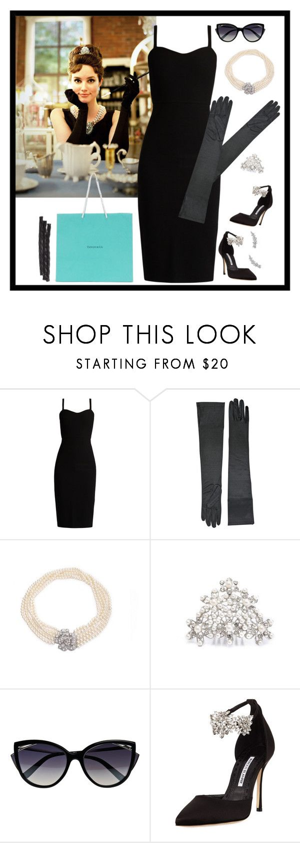 """""""Audrey Hepburn, Breakfast at Tiffany's Halloween costume"""" by dory-speaks-whale ❤ liked on Polyvore featuring MaxMara, Tiffany & Co., La Perla, Manolo Blahnik and Bloomingdale's"""
