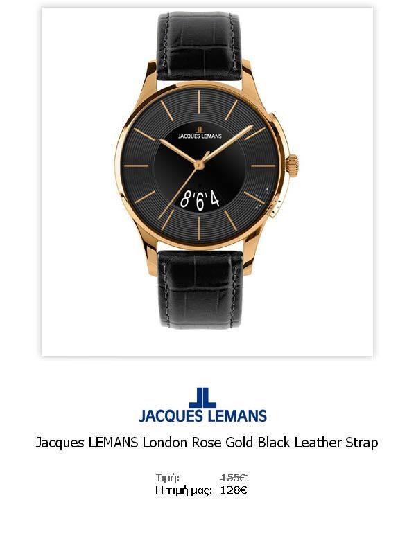 Jacques LEMANS London Rose Gold Black Leather Strap  1-1746E  Όλες οι λεπτομέρειεςτου ρολογιού εδώ   http://www.oroloi.gr/product_info.php?products_id=31790