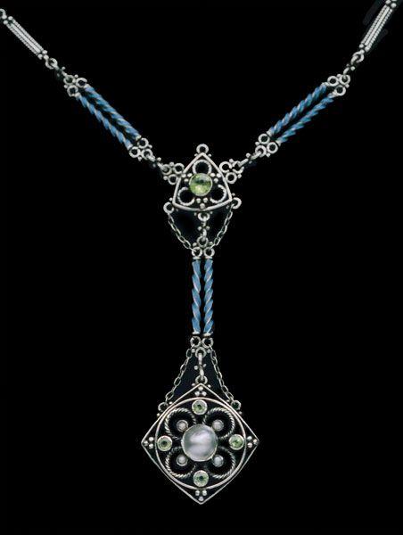 British Arts & Crafts Necklace c.1910 -  Silver Enamel Peridot Pearl   JV
