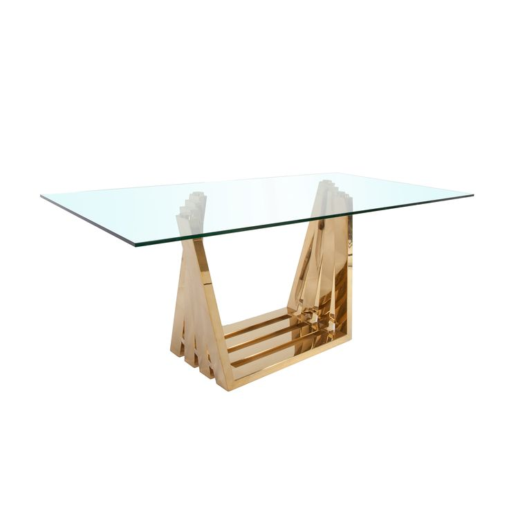 Gerda Dining Table In Clear And Gold