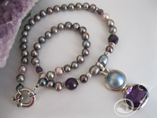 Large Amethyst and Black Pearl Necklace – Pearl Jewellery