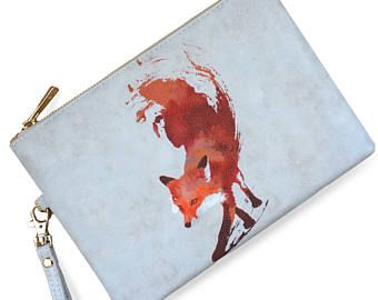 """Veganas cuero bolso de embrague con zorro, bolso del bolso de mano, regalo de Dama de honor """"Vulpes"""" edición limitada Cltuch"""