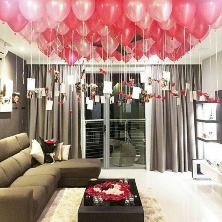 99 Amazing Apartment Decoration Ideas For Valentines Day Birthday Surprises For Her Birthday Balloon Surprise Birthday Surprise Party