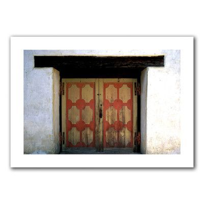 """ArtWall Mission Door' by Kathy Yates Photographic Print on Rolled Canvas Size: 20"""" H x 28"""" W"""