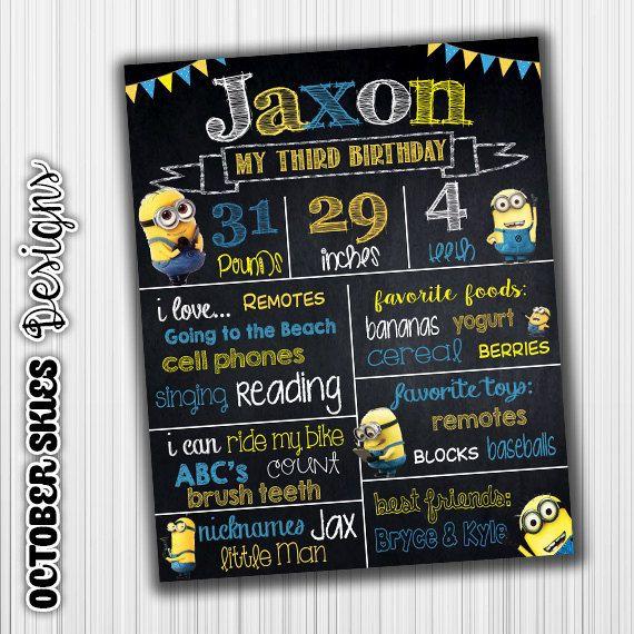 Minion Birthday Chalkboard, Banner, Poster, 1st Birthday