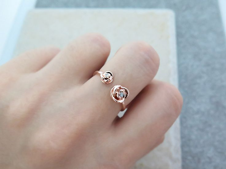 Adjustable CZ Ring/Sterling silver ring/Rose Ring/ CZ open ring /Delicate CZ ring/Stackable ring/Flower ring/Dainty rose ring/Rings by MinimalBijoux on Etsy
