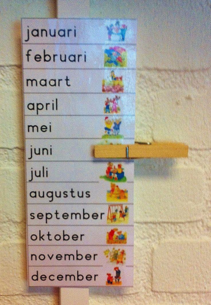 Woordkaarten MAANDEN (Dagmar Stam). Is dit handig of neemt het teveel ruimte in beslag? Je hebt nl ook nog dagkaarten, seizoenkaarten en cijfers om de datum goed aan te geven.