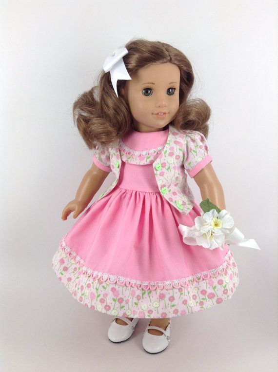 Handmade dress, jacket, and petticoat for American Girl and other similar 18-inch dolls.  My dolly is modeling a pink sundress...inspired from a