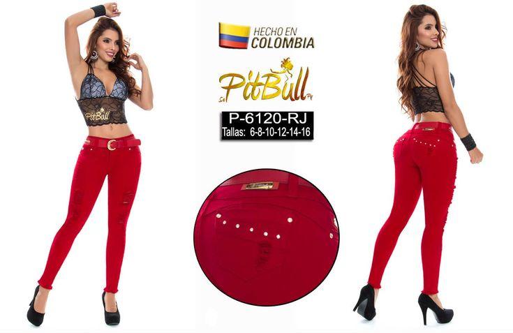 Pantalón colombiano vaquero levanta cola pitbull color rojo con destroyer y con cinturón a juego.