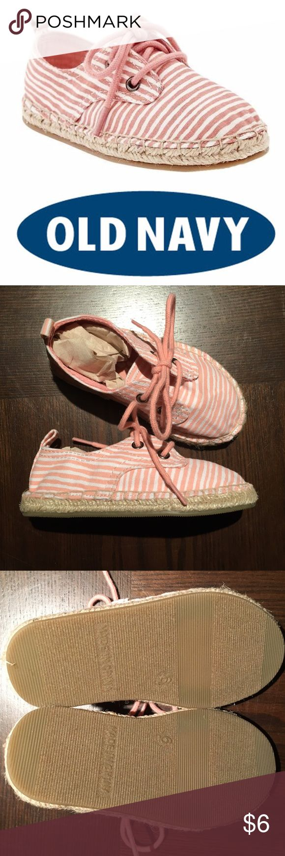 NEW Old Navy Toddler Girl Pink Espadrilles - 6T NEW Old Navy Girl's Pink Stripe Espadrilles Shoe Size 6T. These are pink and white stripe with pink laces (2 eyelets). Super cute espadrilles, perfect for Spring. Purchased at original retail price of $19.94. These come from a smoke free home and were never worn. Old Navy Shoes