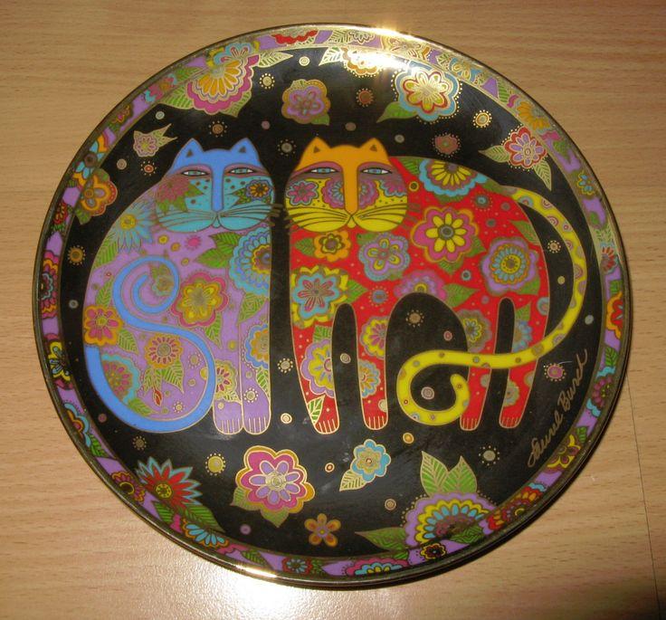 "Laurel Burch Flowering Felines Ed 1994 Franklin Mint 8"" Plate Gold Trim | eBay"