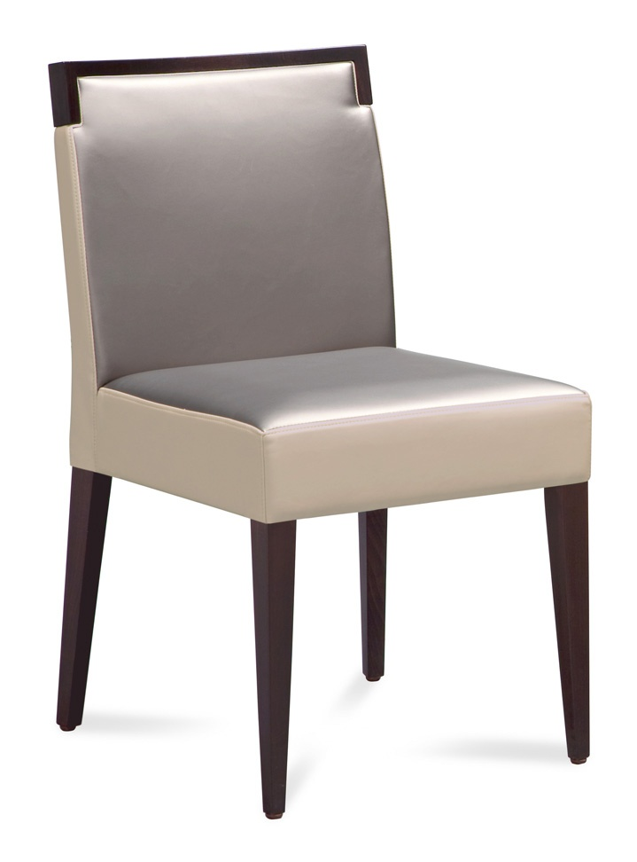 Ariel dining chair by Domitalia of Italy.  Wenge wood and soft pewter and white satin feel fabrics are washable.  Available in stock at www.pomphome  Armchair also available