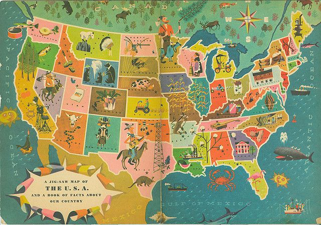 "From a ""Our 50 United States"" golden rule book. Illustrator Harry Mcnaught #map #usa #america"