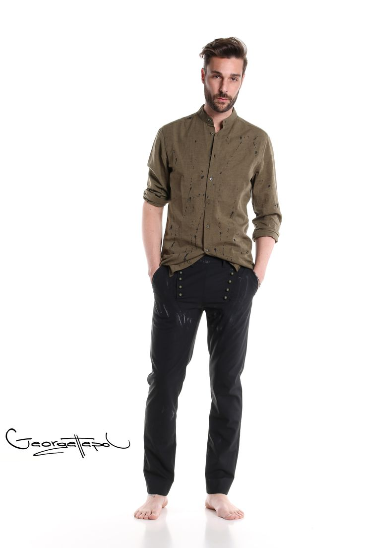Military linen shirt - Black canvas bottoms #trousers #bottoms #canvas #fashion #man #painted #summer #shirt #linenshirt #black #iammyself #military #black #style #georgettepol