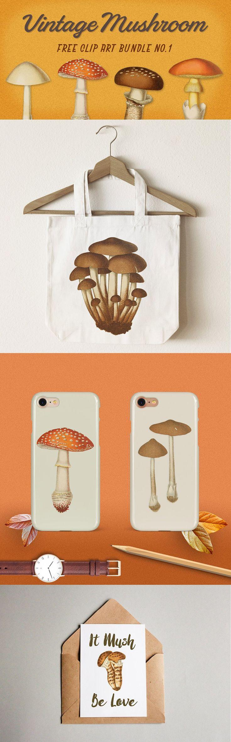 Royalty Free Images | Vintage Mushroom Bundle No. 1 | Oh So Nifty Vintage Graphics