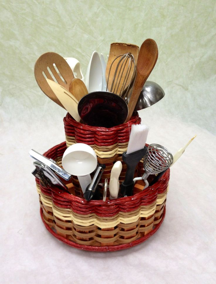 Double Lazy Susan Utensil--This is one of our favorite baskets! I love how it holds all my Pampered Chef small utensils on the outside and my larger ones in the middle. This basket will add elegance and charm to any kitchen! Handcrafted in the USA!