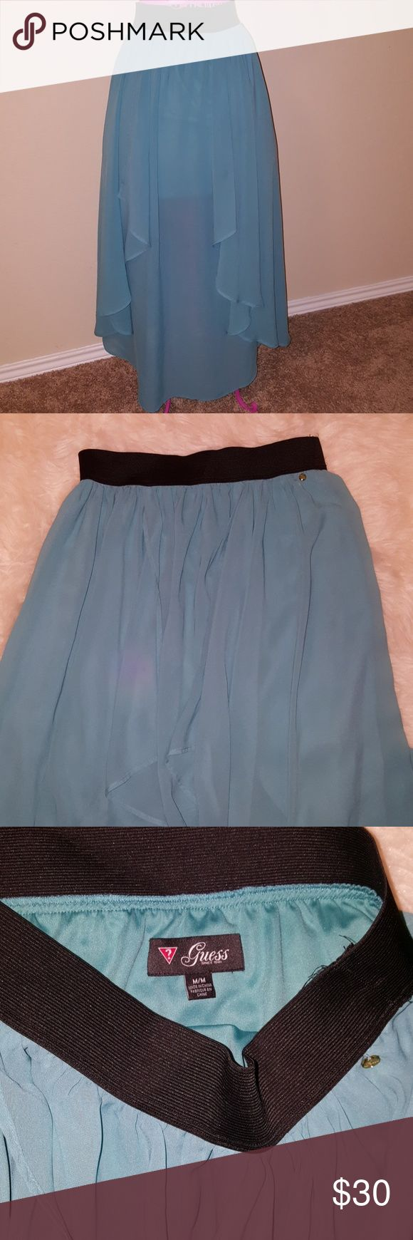 Guess maxi skirt Blue long and flowing maxi skirt  Has mini skirt and the rest is a sheer fabric Perfect for spring Guess Skirts Maxi