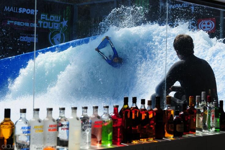 through the bar at Wave House Santiago