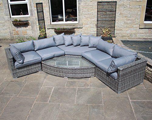 Luxury Grey Rattan Rounded Corner Sofa Set Outdoor Garden Furniture. 17 Best ideas about Grey Rattan Garden Furniture on Pinterest
