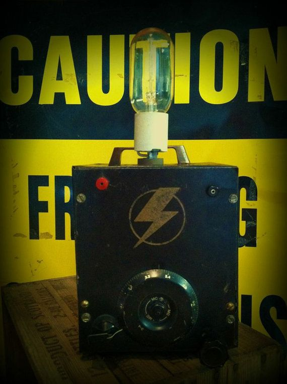 reclaimed industrial lighting. items similar to industrial lighting lamp upcycled reclaimed caution typography lettering words hot rod lightning bolt man cave on etsy