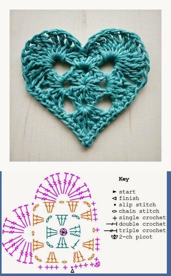 Patrón corazón a crochet by esther