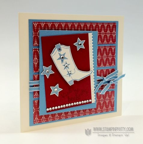 Merry Minis and Bootiful Occasions stamp sets. Designed by Mary Fish, Independent Stampin' Up! Demonstrator. Details, supply list and more card ideas on http://stampinpretty.com/2012/08/ppa141-like-a-rhinestone-cowboy.html