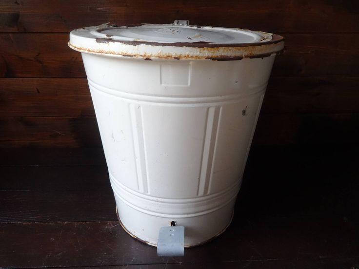 Vintage French metal flip top beige painted iron vegetable waste kitchen bin chicken animal feed compost circa 1970's