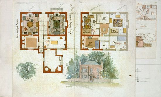 """""""Proposed Design For A House"""" Edward William Godwin"""