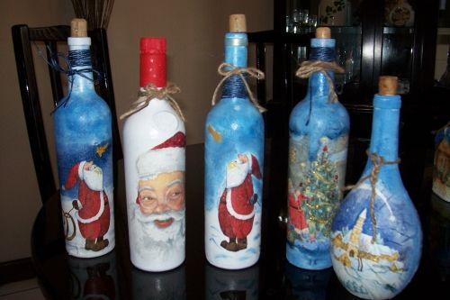 Botellas decoradas de navidad decoraciones pinterest - Decoracion de botellas ...