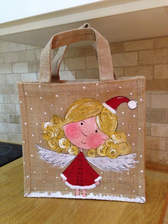 Large hand painted girly fairy jute bag by DollyandDuck on Etsy