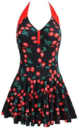 British Ladies Swimming Costume Halterneck Swimwear with Skirt Plus Size Beachwear Push up Tankini #British #UK #PlusSize #FashionBug #BathingSuits #Swimsuits #Swimwears