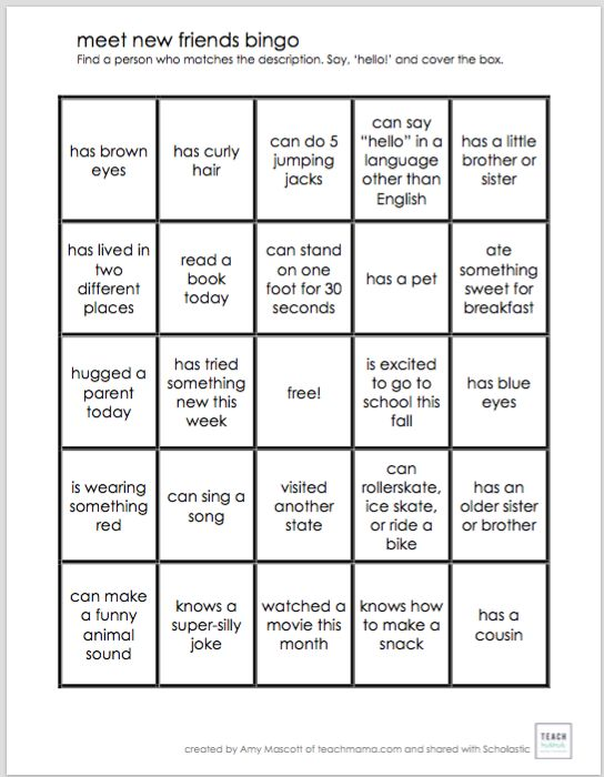 Looking for an ice breaker activity for a group of kids? Print a few copies of this bingo board as a conversation starter and help your child to make new friends.