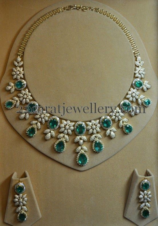 Jewellery Designs: Unique yet Elegant Diamond Emerald Set