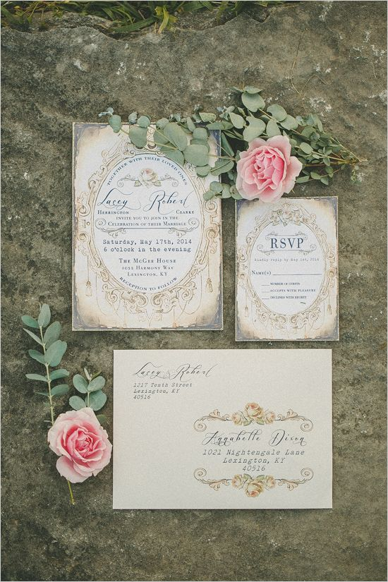 antique wedding stationery @weddingchicks