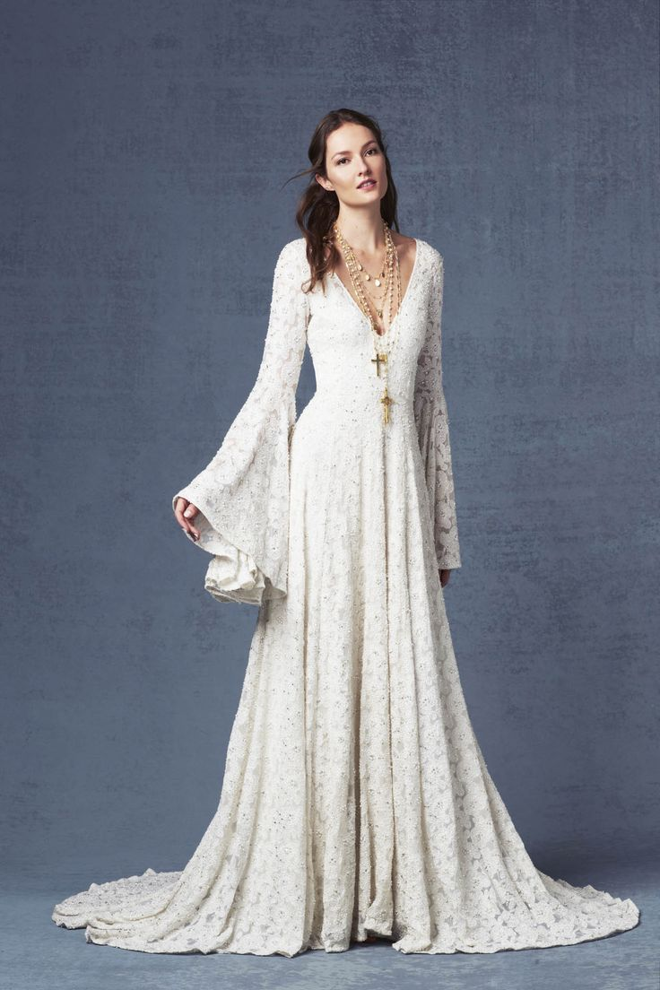 1298 best long sleeve wedding gowns images on pinterest for Wedding dress bell sleeves
