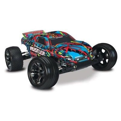 Price - $349.99. Traxxas Tra37076-3-Hwn Rustler Vxl 1/10 Stadium Truck Rtr Hawaiian Edition W/ Id ( Brand - Traxxas, Type - Truck, Scale - 1:10, Required Assembly - Ready to Go/RTR/RTF (All included), Color - Multi-Color, Product Line - Rustler, Model - Rustler    )