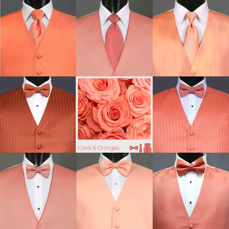 Coral and orange vest options with The Tux Shop in the Seattle, Washington metro