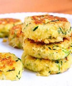 Zucchini Cakes - just 63 calories Each scrumptious morsel is totally satisfying and packed with vitamin-rich zucchini, yet strikingly low in calories, carbs, and fat.