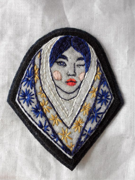 Hand Embroidered Cobalt Girl Head Patch