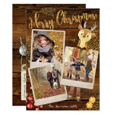 Rustic Three Photo Collage Personalized Christmas Card - tap to personalize and get yours #xmas #holidays #cards #photocard #love #custom #greetings