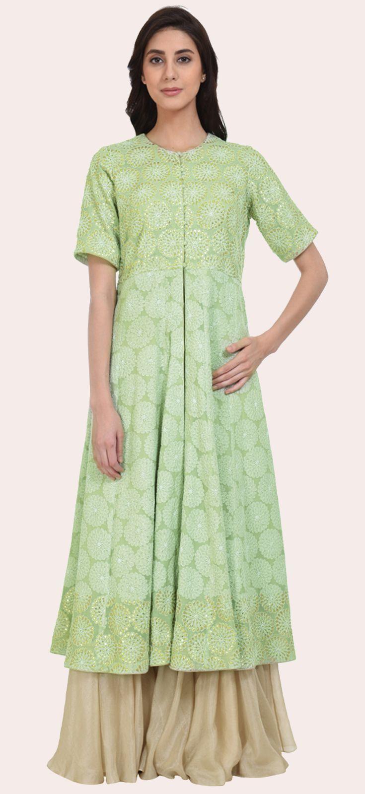 Eid 2017 Collection: Sage Green Hand Embroidered Chikankari And Gota Patti Kalidaar Dress