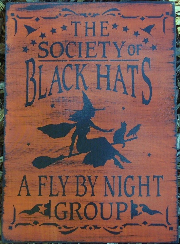 Witchcraft Black Hat Society witches primitive witch signs halloween sign Primitives Wicca Pagan Halloween decorations coven magick by SleepyHollowPrims, $24.30 USD