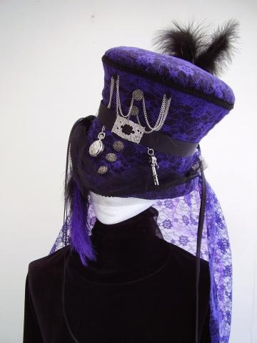 Steampunk Ameth's Wedding mad hatter top hat by Victorianhatter for $150.00: Steampunk Fashion, Purple Hats, Hatters Tops, Steampunk Style, Steampunk Ameth, Steampunk Hats, Steampunk Mad, Gothic Steampunk, Tops Hats