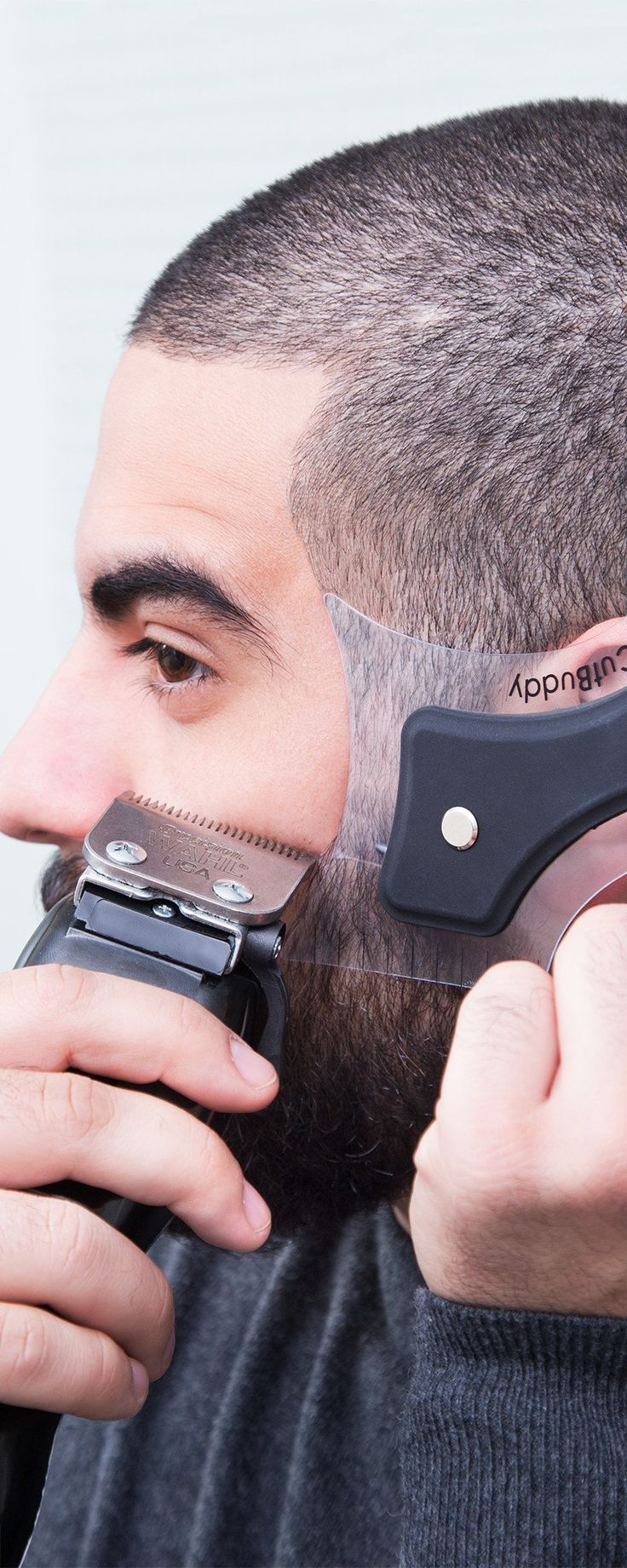Get a sharp-looking hair and beard line. This stencil guides your razor or trimmer around traceable shapes for a clean, defined hair and beard line.