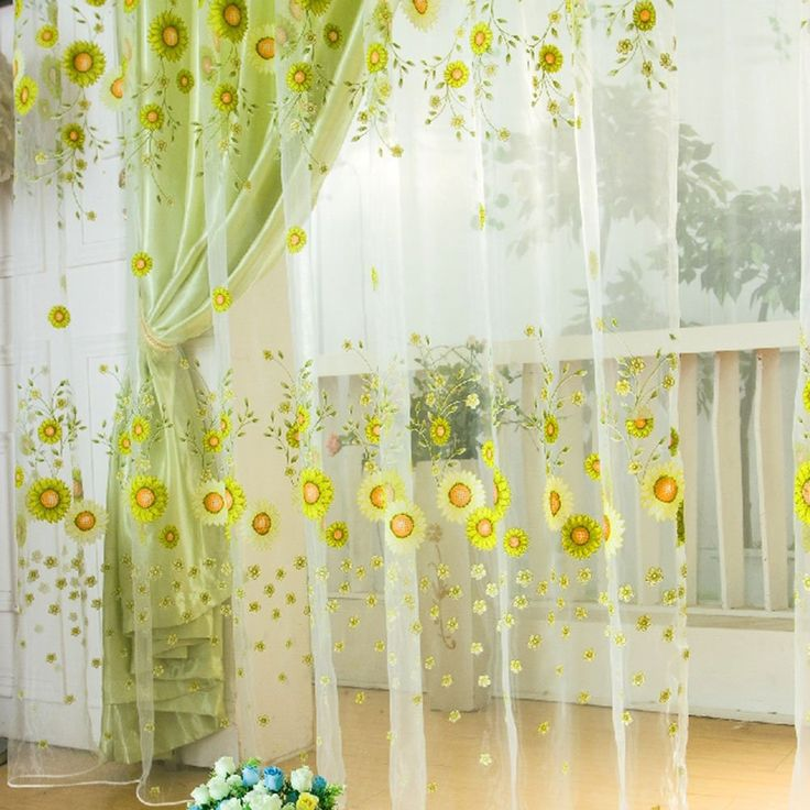 Kitchen Curtains Amazon Co Uk: ROPALIA Sunflower Tulle Voile Window Drape Panel Sheer