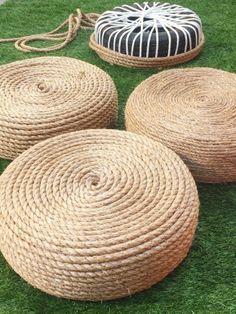 DIY rope ottomans: Selbstgemachstes Sitzkissen aus einem alten Reifen und einem Seil.