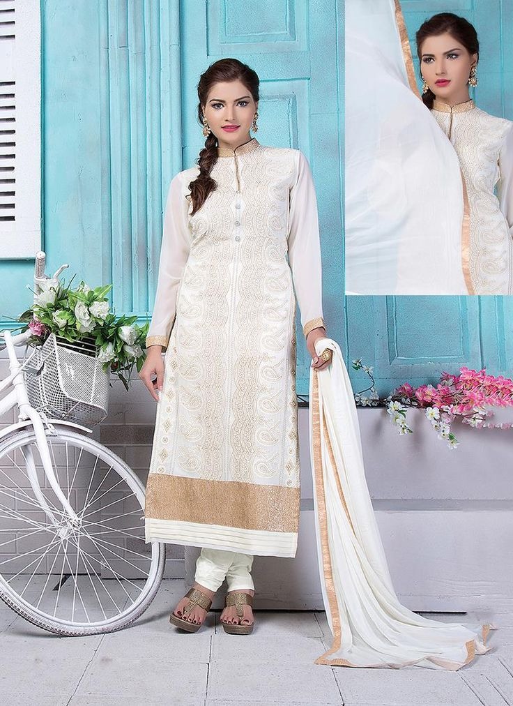 Online store to shop for salwar kameez. Available in variety of colors. Order this amazing off white churidar designer suit for festival and party.