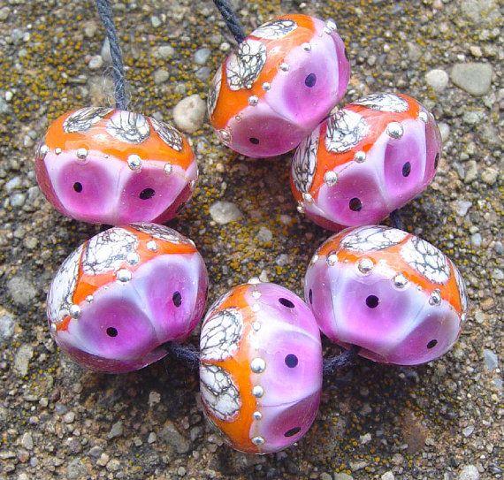 elegant rounds bright pink and bright orange set of 6 beads sra lampwork